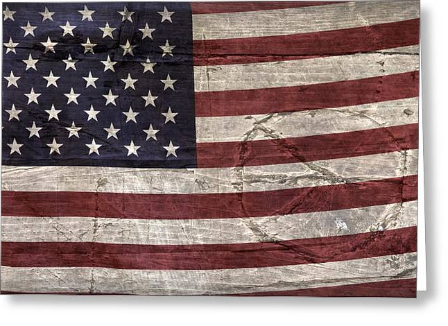 Flag Of Usa Greeting Cards - Grungy Textured USA Peace Sign Flag Greeting Card by John Stephens