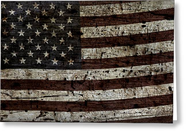 Flag Of Usa Greeting Cards - Grungy Wooden Textured USA Flag2 Greeting Card by John Stephens