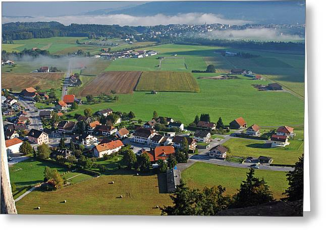 Gruyere Greeting Cards - Gruyeres city from the castle Greeting Card by Dennis Dismachek