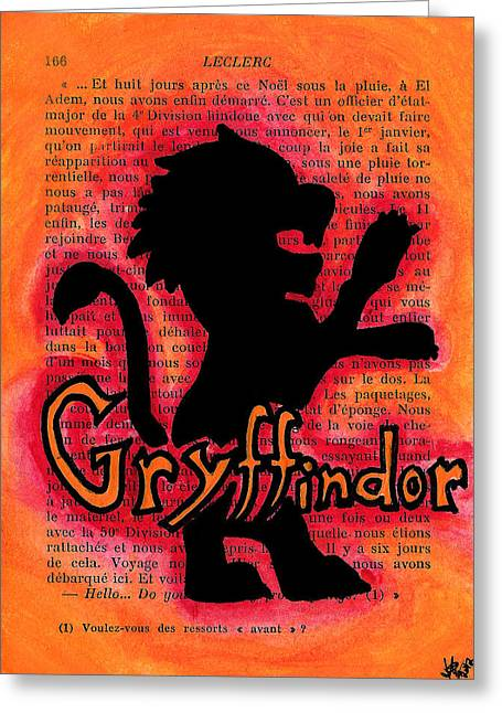 Bright Drawings Greeting Cards - Gryffindor Lion Greeting Card by Jera Sky