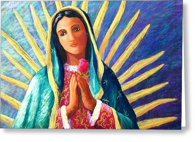 Guadalupe Greeting Cards - Guadalupe with Rose Greeting Card by Candy Mayer
