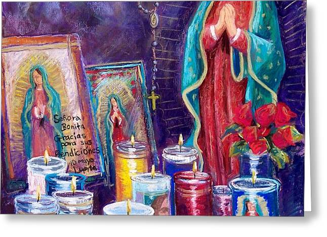 Guadalupe y Las Velas candles Greeting Card by Candy Mayer