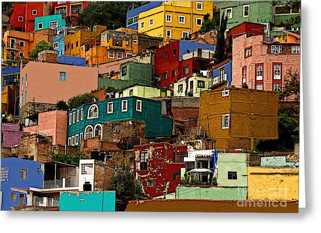 Guanajuato Hillside 4 Greeting Card by Olden Mexico