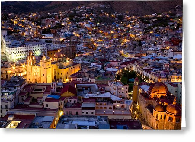 City Lights And Lighting Greeting Cards - Guanajuato Lit Up At Night Greeting Card by David Evans