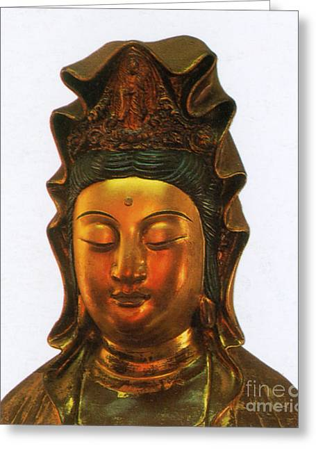 Kuan Greeting Cards - Guanyin, Chinese Goddess Of Mercy Greeting Card by Photo Researchers