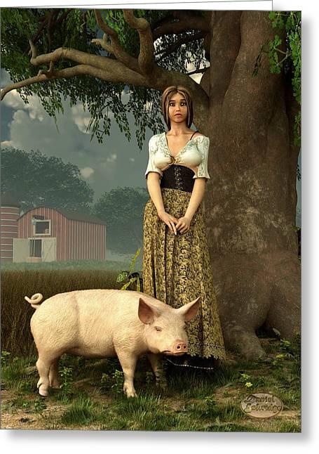 Guard Pig Greeting Card by Daniel Eskridge