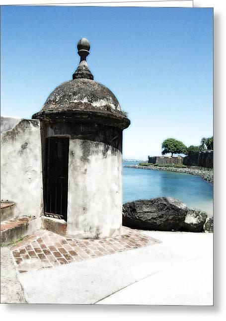 Caribbean Greeting Cards - Guard Post Castillo San Felipe Del Morro San Juan Puerto Rico Diffuse Glow Greeting Card by Shawn O