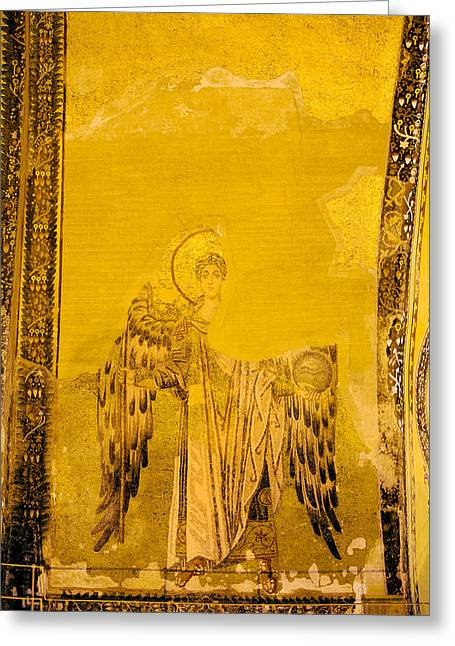 Holy Icons Greeting Cards - Guardian Angel Byzantine Art Greeting Card by Artur Bogacki