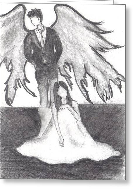 Guardian Angel Drawings Greeting Cards - Guardian angel Greeting Card by Eileen Wong