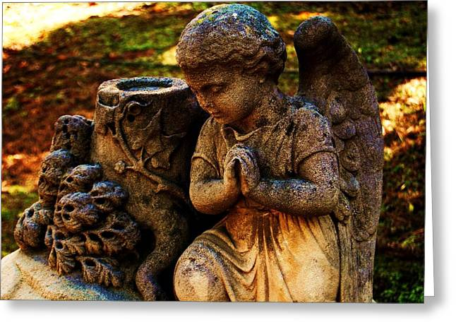 Recently Sold -  - Garden Statuary Greeting Cards - Guardian Angel Greeting Card by Helen Carson