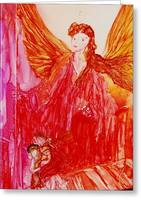 Fairy Hearts Pink Flower Greeting Cards - Guardian Angel Greeting Card by Joyce Auteri