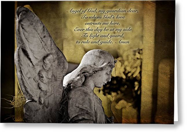 Guardian Angel Greeting Cards - Guardian Angel Prayer Greeting Card by Bonnie Barry