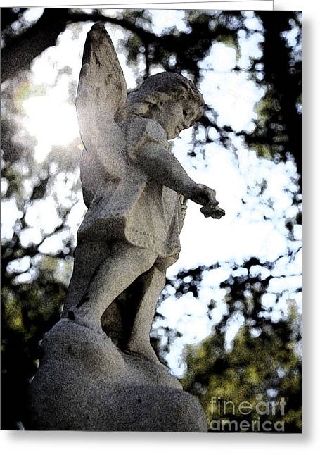 Guardian Angel With Light From Above Greeting Card by Nina Prommer