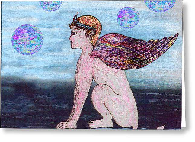 Babylon Mixed Media Greeting Cards - Guardian at the Far Gate Greeting Card by Michael A Klein