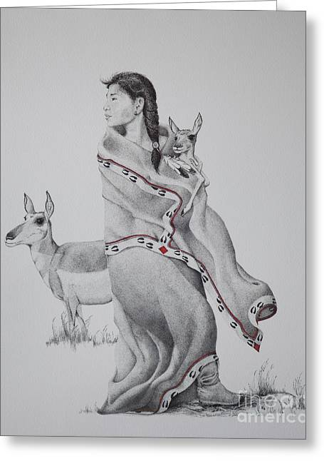 Stipple Drawings Greeting Cards - Guardian of the Herd Greeting Card by Tracy L Teeter