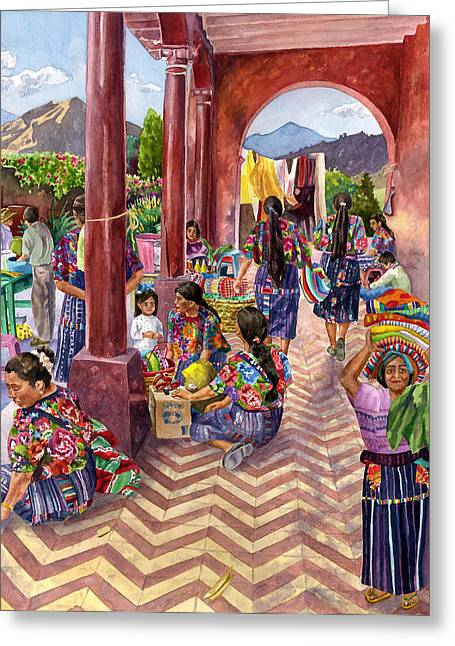 Marketplaces Greeting Cards - Guatemalan Marketplace Greeting Card by Anne Gifford