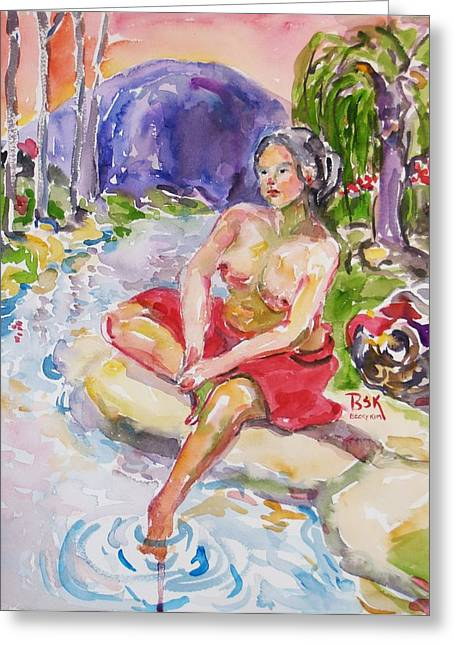 Portrait With Mountain Greeting Cards - Guchundong Nude Greeting Card by Becky Kim