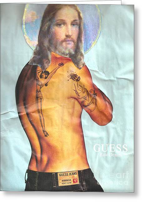 Jesus Mixed Media Greeting Cards - Guess Jesus Greeting Card by Jaime  Becker