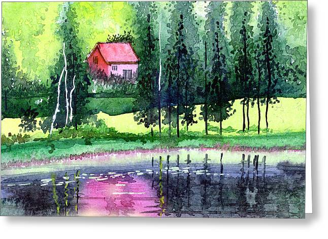 Anil Nene Greeting Cards - Guest House Greeting Card by Anil Nene