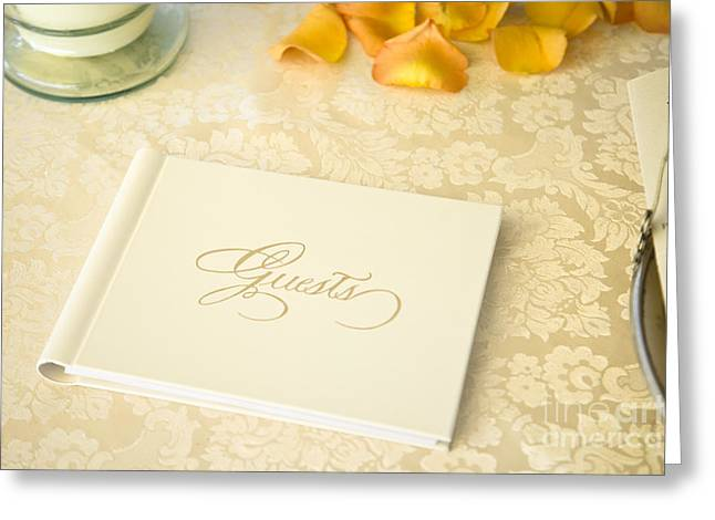 Table Cloth Greeting Cards - Guestbook on a Table Greeting Card by Ned Frisk
