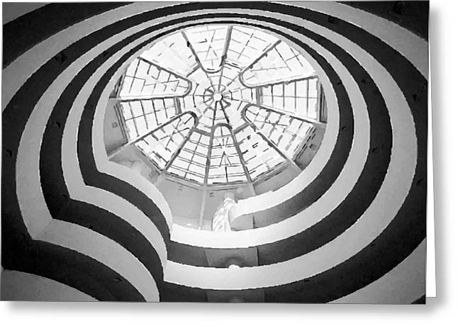 True Melting Pot Greeting Cards - Guggenheim Museum BW200 Greeting Card by Scott Kelley