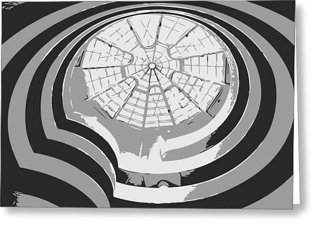 The Guggenheim Greeting Cards - Guggenheim Museum BW3 Greeting Card by Scott Kelley