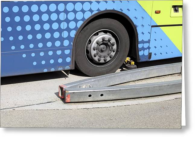 Guided Busway Wheel Mechanism Greeting Card by Martin Bond