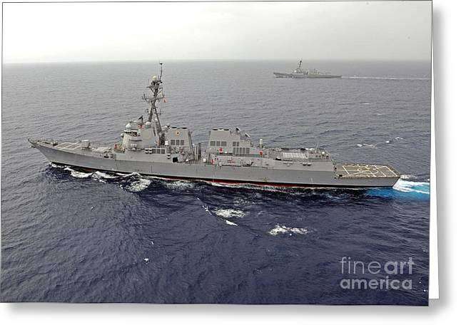 Guided Missile Destroyers Uss Dewey Greeting Card by Stocktrek Images