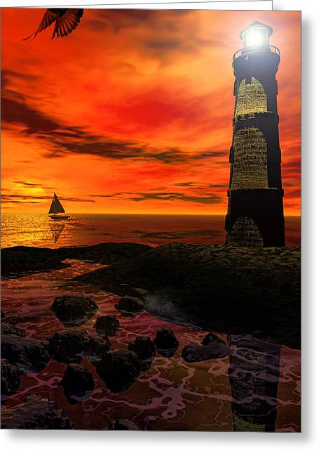 Fishermans Island Greeting Cards - Guiding Light - Lighthouse Art Greeting Card by Lourry Legarde