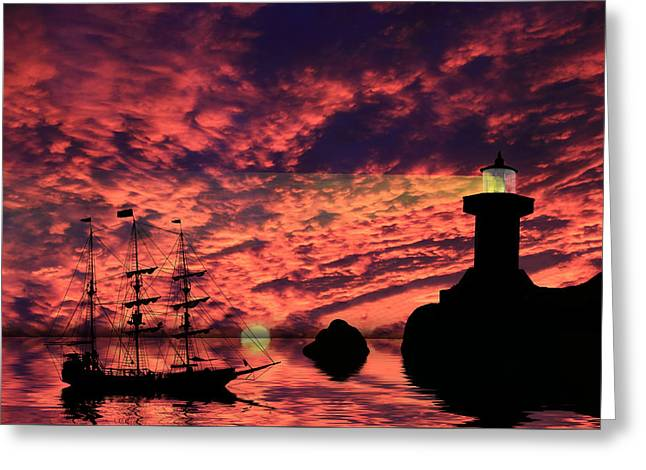 Pirate Ships Greeting Cards - Guiding The Way Greeting Card by Shane Bechler