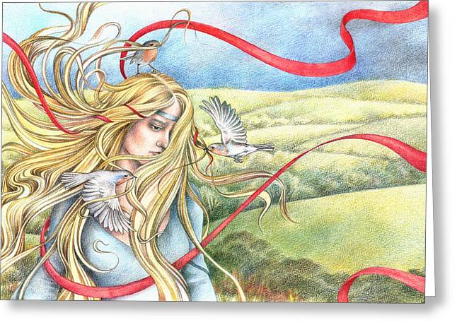 Coloured Pencil Greeting Cards - Guinevere Greeting Card by Johanna Pieterman