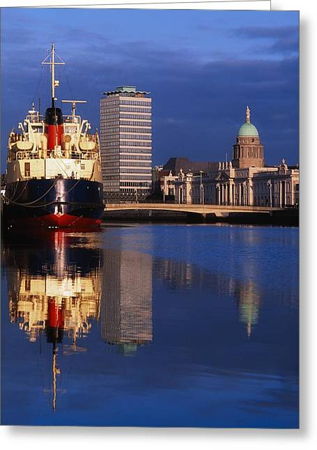 Boats In Reflecting Water Photographs Greeting Cards - Guinness Boat, Custom House, Liberty Greeting Card by The Irish Image Collection