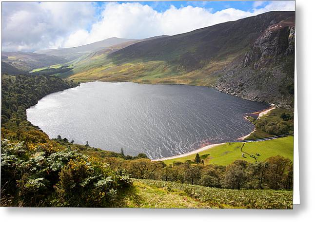 Field. Cloud Greeting Cards - Guinness Lake in Wicklow Mountains  Ireland Greeting Card by Semmick Photo