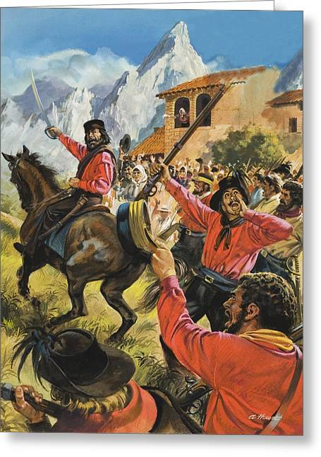 Advancing Greeting Cards - Guiseppe Garibaldi and his army in the battle with the Neopolitan Royal troops Greeting Card by Andrew Howat