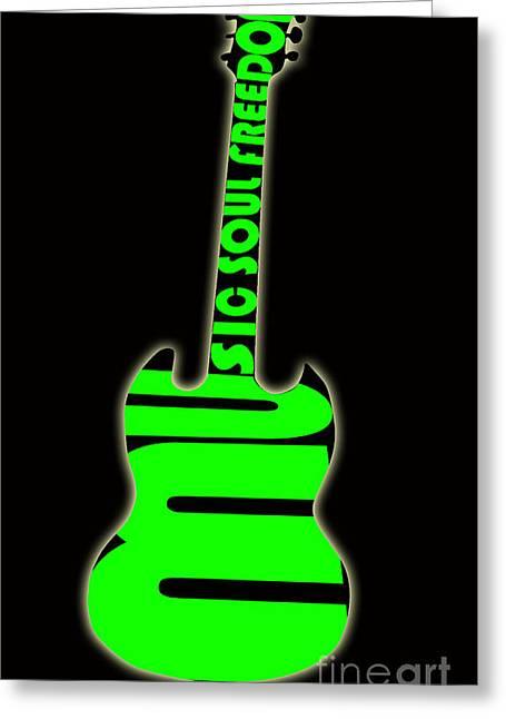 Intruments Greeting Cards - Guitar in Green Greeting Card by Lj Lambert