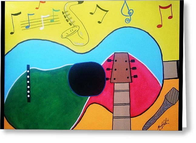 Instructions Paintings Greeting Cards - Guitar Love Greeting Card by Manfred Schaefer