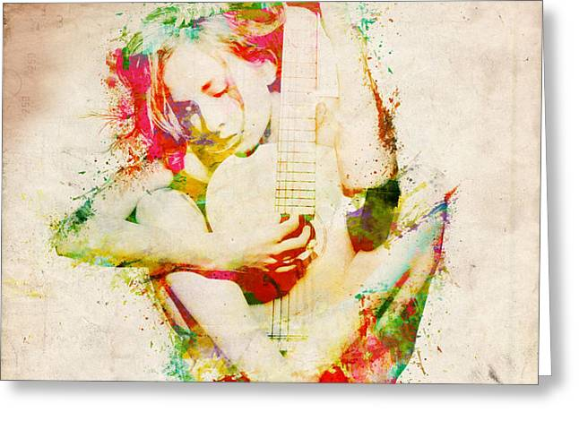 Guitar Lovers Embrace Greeting Card by Nikki Marie Smith