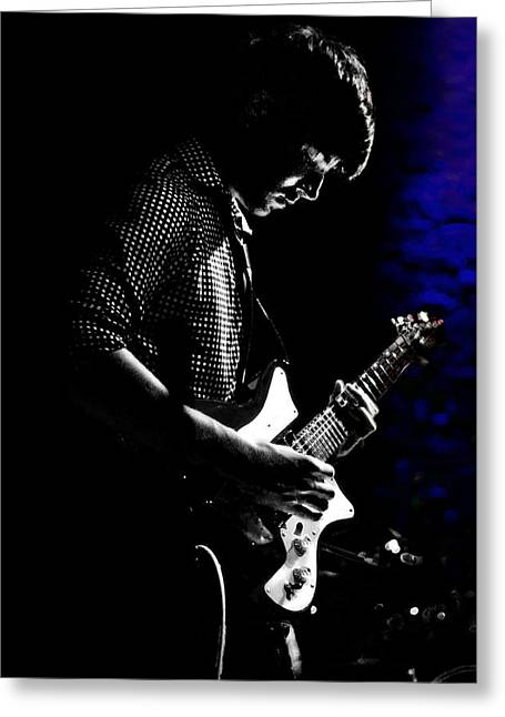 Live Music Greeting Cards - Guitar Man In Blue Greeting Card by Meirion Matthias