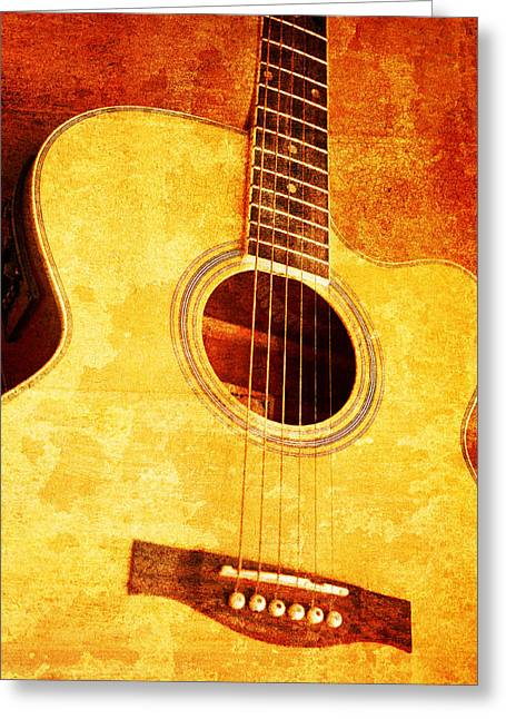 Consume Mixed Media Greeting Cards - Guitar On Old  Wall Greeting Card by Nattapon Wongwean