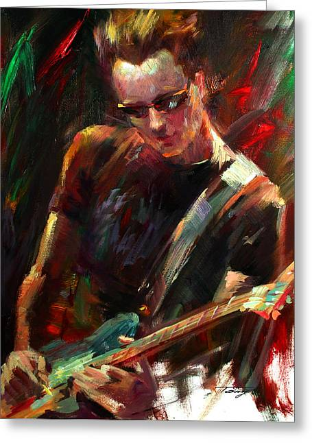 Guitar Player Drawings Greeting Cards - Guitar Player Greeting Card by Tony Song