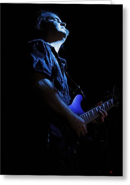 Guitarist In Blue Greeting Card by Rick Berk
