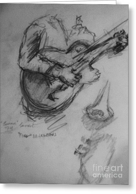 Player Drawings Greeting Cards - Guitarist Greeting Card by Jamey Balester
