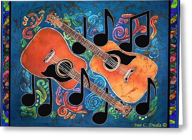 Old Tapestries - Textiles Greeting Cards - Guitars - Bordered Greeting Card by Sue Duda