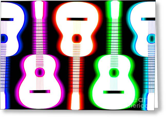Rhythm And Blues Greeting Cards - Guitars on Fire 5 Greeting Card by Andy Smy