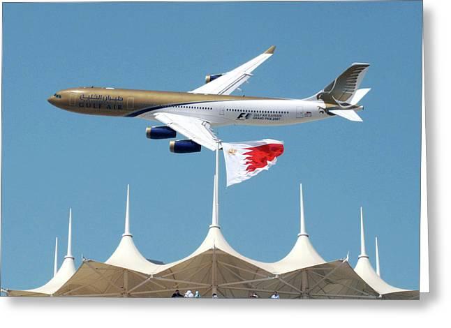 Aeronautical Greeting Cards - Gulf Air A340 Greeting Card by Graham Taylor