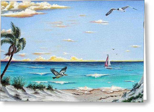 Sea Oats Mixed Media Greeting Cards - Gulf Beach Pathway Greeting Card by Riley Geddings