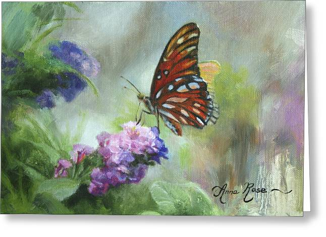 Floral Still Life Greeting Cards - Gulf Fritillary Greeting Card by Anna Bain