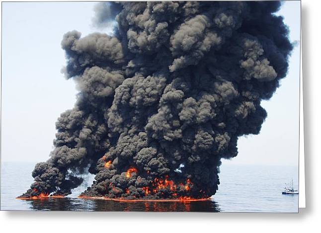 Damaged Photograph Greeting Cards - Gulf Of Mexico Oil Spill Burn-off, 2010 Greeting Card by U.s. Coast Guard