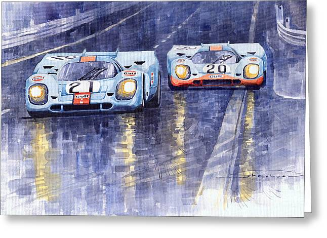 24 Greeting Cards - Gulf-Porsche 917 K Spa Francorchamps 1970 Greeting Card by Yuriy  Shevchuk