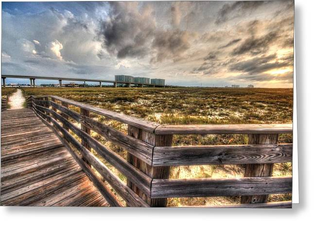 Crimson Tide Greeting Cards - Gulf State Park Boardwalk Corner Greeting Card by Michael Thomas